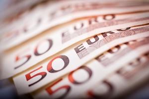 50 Euro Bills. Fifty Euros Bills in Macro Photography.